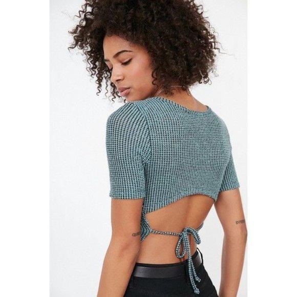 Silence + Noise sweater knit-tie tee, green
